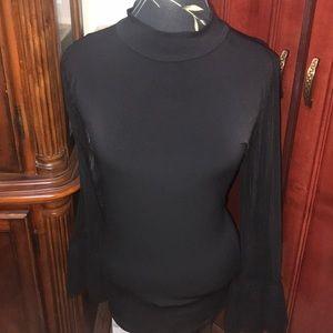 Nwt Thalía Sodi high neck sheer sleeve + size top
